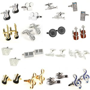 Wholesale Fashion Stone Gold Music Note Guitar Trumpet Sax Piano Microphone Cufflink Cuff Link Pair Big Promotion
