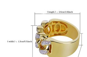 Wholesale New fashionable, attractive and hot-selling chain gold-plated zircon finger ring hip-hop trendsetter ring in Europe and America