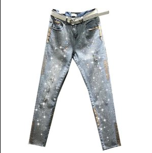 2020 Spring and autumn new hot rhinestone gold skinny jeans women high waist was thin hole denim nine points pants r751