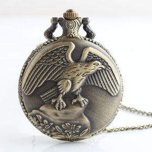 Wholesale Best Vintage Antique Bronze Eagle Wings Pocket Watch Men Women With Necklace Chain Gift White Dial reloj de bolsillo TD2027