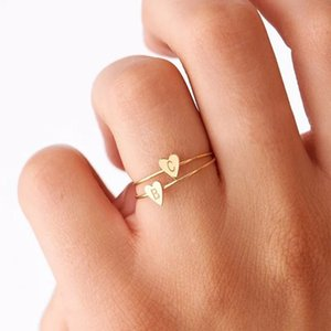 Wholesale 26 A Z English Letter Ring English Initial Ring Silver Gold Love Heart Rings Women Fashion Jewelry Will and Sandy Drop Ship