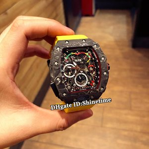 Wholesale Luxry New RM 50-03 01 McLaren F1 Skeleton Dial Automatic Mechanical RM50-03 Mens Watch Black NTPT All Carbon Fiber Case Rubber Strap Watches