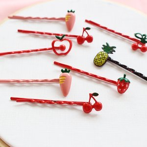 Wholesale 2Pcs Set Fruit Hair Clips Strawberry Cherry Pineapple Hairpins Barrette cm Metal U shaped Plated Bobby Pins for Women