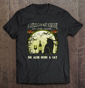 Wholesale A Witch Can Not Survive On Wine Alone She Also Needs A Cat Halloween Men T Shirt