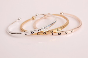 Fashion Rose Gold silver gold Color Engraving Letters Love Adjustable Big small Open Charm Cuff Bracelets Bangles Women Jewelry