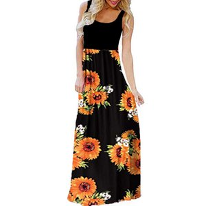 2019 Summer Long Beach Dress Floral Print Boho Beach Dress Tunic Maxi Women Evening Party Sundress Vestidos #New