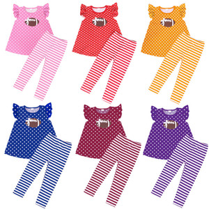Wholesale Girls Football Printed Clothing Sets Designs Dot Printed Tops Kids Designer Clothes Girls Striped Printed Pants Playsuit M T