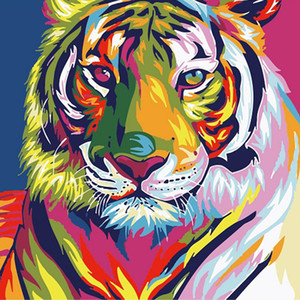 Wholesale HOT DIY Painting By Numbers Colorful Lion Tiger Cat Animals Picture Coloring Paint By Numbers Linen Fabric For Wall Decoration