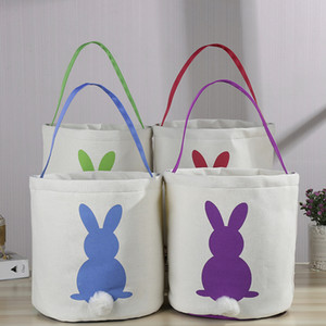Cute Easter Rabbit Basket Round Canvas Gift bag cartoon cute Bunny tails bucket Put Easter Jute rabbit DIY pail buckets