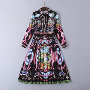 Wholesale 2019 Spring Summer Long Sleeve Lapel Neck Print Laces up Fashion Milan Runway Dress Designer Dress Brand Same Style Dress
