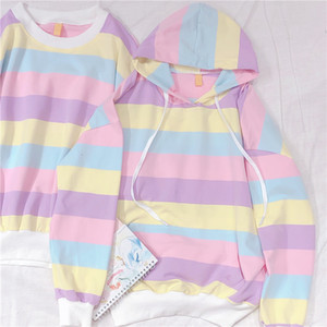Japanese Rainbow Women Cool Hoodie Kpop Clothes Harajuku Kawaii Yellow Pink Striped Girls Sweatshirts Friends Casual Pullovers SH190913