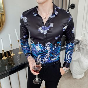 Wholesale Luxury Ropa De Hombre Gold Mens Printed Casual Shirts Autumn Flower Shirt A Gentle Wind Fish Printing Dress Shirt Men