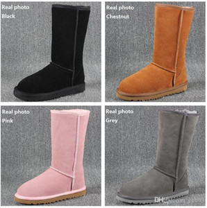 HOT Women Snow Boots Classic Style Cow Suede Leather Waterproof Winter Warm Knee-high Long Boots Brand Ivg Plus Size US3-14