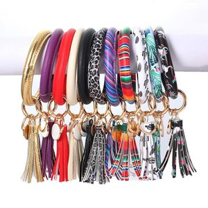 Leather Bracelet Key Chain PU Wristr Round print Key Ring Tassel Pendant Wristbands Sports Keychain Bracelets Round Key Rings LJJA3023