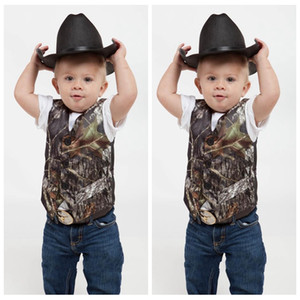 Top Sale Camo Boy's Formal Wear Vests With Bowknot Camouflage Groom Boy Vest Cheap Satin Custom Formal Wedding Vests Camouflage Outside