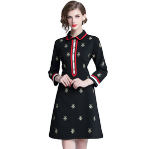 Wholesale New Luxury Fashion Fall Winter Embroidery Dresses Classic Women s Clothing A Line Dress Elegant Office Business Lady Sexy Slim Mini Dresses