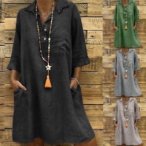 Wholesale Large Plus Size Best Sale Women s Solid Boho Turn down Collar Dress Sleeve Casual Pocket Button Dress Vestido