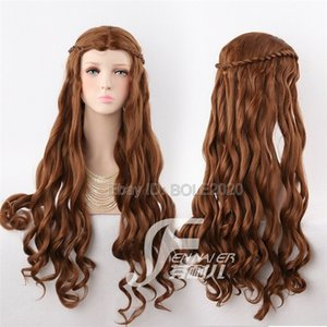 ePacket free shipping Fashion Braight Brown Curly Cosplay Wig Woman's Costume Party Full Hair Wigs