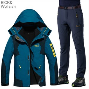 Wholesale NEW High End Couples Suit Hiking Jacket Coat Climbing Three in one Jackets Pants Set XL Thicken Lovers Ski Suit