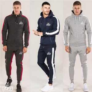 Wholesale Men Sets Fashion Long Sleeve Slim Sweat Suits Hoodies Tracksuit Sweatshirt Two Piece Trousers Male Jacket Pants Exercise
