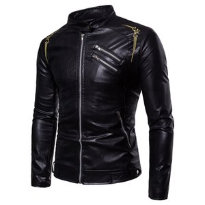 Wholesale Men Leather Motorcycle jacket fashion s long sleeves top coat Wind proof zipper clothes Dropshipping hot sale Genuine jackets
