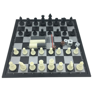 Wholesale Folding Magnetic Board Game Plastic Chess & Checkers & Backgammon 3 in 1 Chess Sets With Chessboard And Chess Pieces Size S