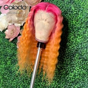 Wholesale human lace wig full glueless red resale online - COLODO Red Deep Wave Human Hair Wig Glueless Orange Blonde Wig with Babyhair Ombre Remy Brazilian X6 Lace Front Wigs for Women