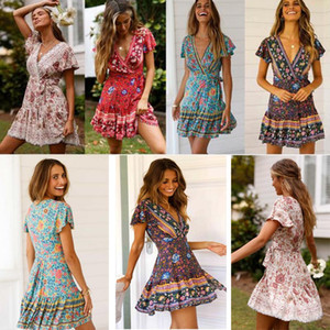 women clothing Dress Summer Holiday Bohemia style V-neck Beach Dress women Flower Print Dress