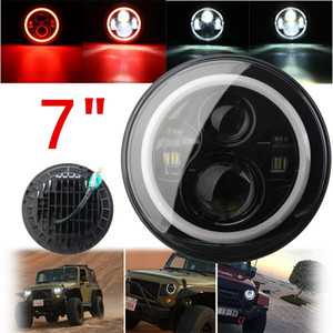 Wholesale jeep jk resale online - Freeshipping Inch W Hi Lo Beam LED Headlight Head Light Lamps H4 H13 Red Blue Full Halo Angel Eyes For Jeep Wrangler JK TJ LJ