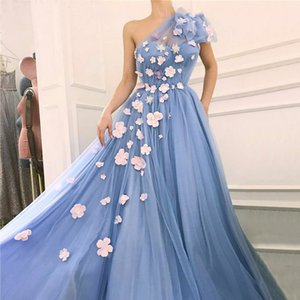 Wholesale Plus Size Gorgeous Light Blue One Shoulder Prom Dresses D Hand Made Flower Party Gowns Arabic Pageant Celebrity Dress