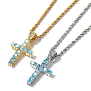 Wholesale Blue CZ Stone Cross Pendant Necklace Mens Ice Out Hip Hop Jewelry Bling K Gold Plated Jesus Hiphop Necklaces