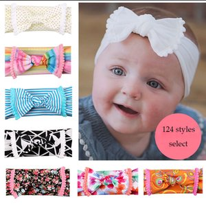 124 Colors Baby Girls Bow Headband Designer Flower Dot Hair Accessories Hair Band Stripe Kids Headdress Bohemia Hairbands C6579