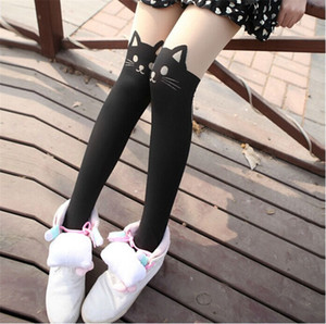 Wholesale Cartoon Cat Womens Socks Skinny Over Knee Animal Print Ladies Tights Fashion Female Clothing