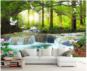 Wholesale green tree wallpapers for sale - Group buy 3d photo wallpaper custom mural on the wall Green big tree forest waterfall background wall home decor living room wallpaper for walls d