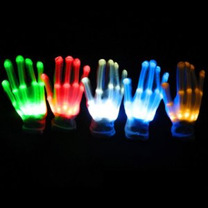 Wholesale 1pcs LED Flashing Gloves Glow Light Up Finger Lighting Dance Party Decoration Glow Party Supplies Choreography Props Christmas