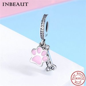 Wholesale S925 Cute Bear Paw Charm fit Pandora Bracelet Sterling Silver Pink Animal Footprint Pendant Beads European Jewelry