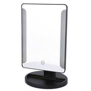 Touch Switch 36 LED USB Power Portable Folding Toilet Lighted Makeup Mirror for Tabletop Bathroom Bedroom Travel