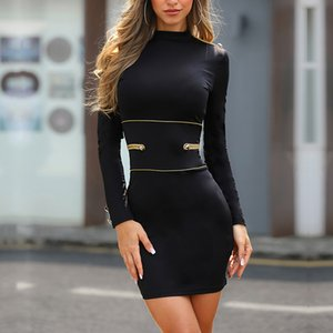 Wholesale Women Button Design Long Sleeve Bodycon Dress Female Sexy Sheath Casual Mini Dress Stylish Office Lady Workwear Dresses
