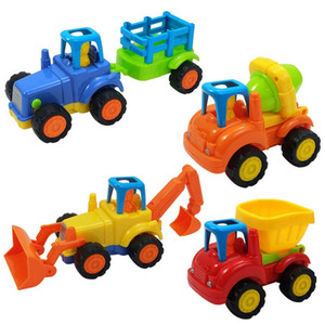 Wholesale 4pcs Engineering Truck Building Blocks Set Toy Car City Construction Enlighten Education Assembly Toys Excavator Kids Gift