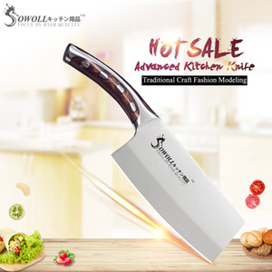 Wholesale SOWOLL cr14mov Stainless Steel Kitchen Knives Inch Chopping Kitchen Knife Resin Fibre Handle Cleaver Cooking Accessories