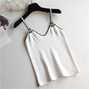 Wholesale Camisole Tank Runway Design Bee Embroidery Sexy Knit Camis New V Neck Tops Summer Fashion Sleeveless Women Top