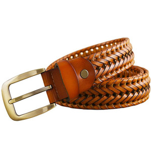 Wholesale Genuine Leather Braided Belt Man Fashion Men Belts Luxury Waist Strap Male Quality Second Layer Cow Skin Girdle for Jeans Brown
