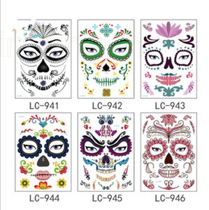 Wholesale Dead Skull Face Halloween Christmas Festival Party Supplies Cool Beauty Tattoo Waterproof Temporary Tattoo Stickers New