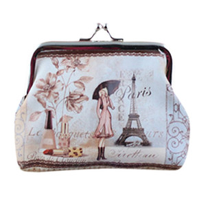 Wholesale coin purse Women Small Wallet cute girl and Eiffel Tower printing mini bag ladies Holder Coin Purse Clutch hasp wallets*.65