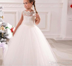 Wholesale dresses for kids for sale - Group buy White Ball Gown Flower Girls Dresses Applique Lace Scalloped Neck Full Length Princess Kids Gowns For Wedding