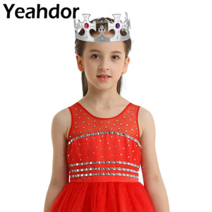 Set of 4 Kids Girls Royal King Crowns Queen Princess Tiara Jeweled Costume Accessories Headwear For Halloween Theme Party Favors