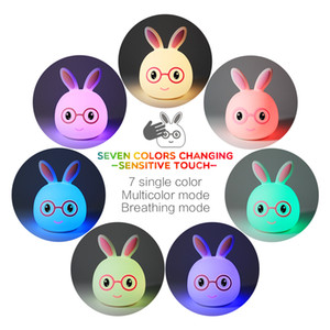 Wholesale 2019 new smiling rabbit night light LED silicone table lamp electrostatic induction patted gradient seven color bedside desk lamp