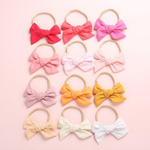Wholesale 24 Hand Tied Cotton Bow Nylon headband or hair clips Spring Summer Fabric Bow Headbands Baby Girls Hair accessories