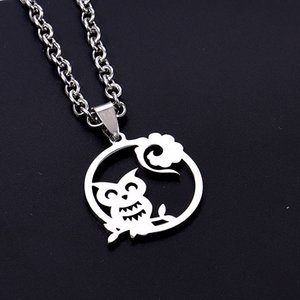 Wholesale Delicate Owl Flower Stainless Steel Gifts Elegant Round Necklace Sliver Chain Women Man New Fashion Pendant Choker Jewelry