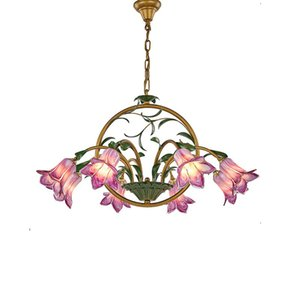 Wholesale vintage green lamps resale online - European Vintage Chandelier Living Room Bedroom Glass Chandelier Romantic Restaurant Wedding Room Flower Chandeliers Creative Pendant Lamps